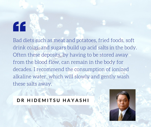 dr hidemetsu hiyashi talks about alkaline ionized water helps flush acidic toxins out of the body